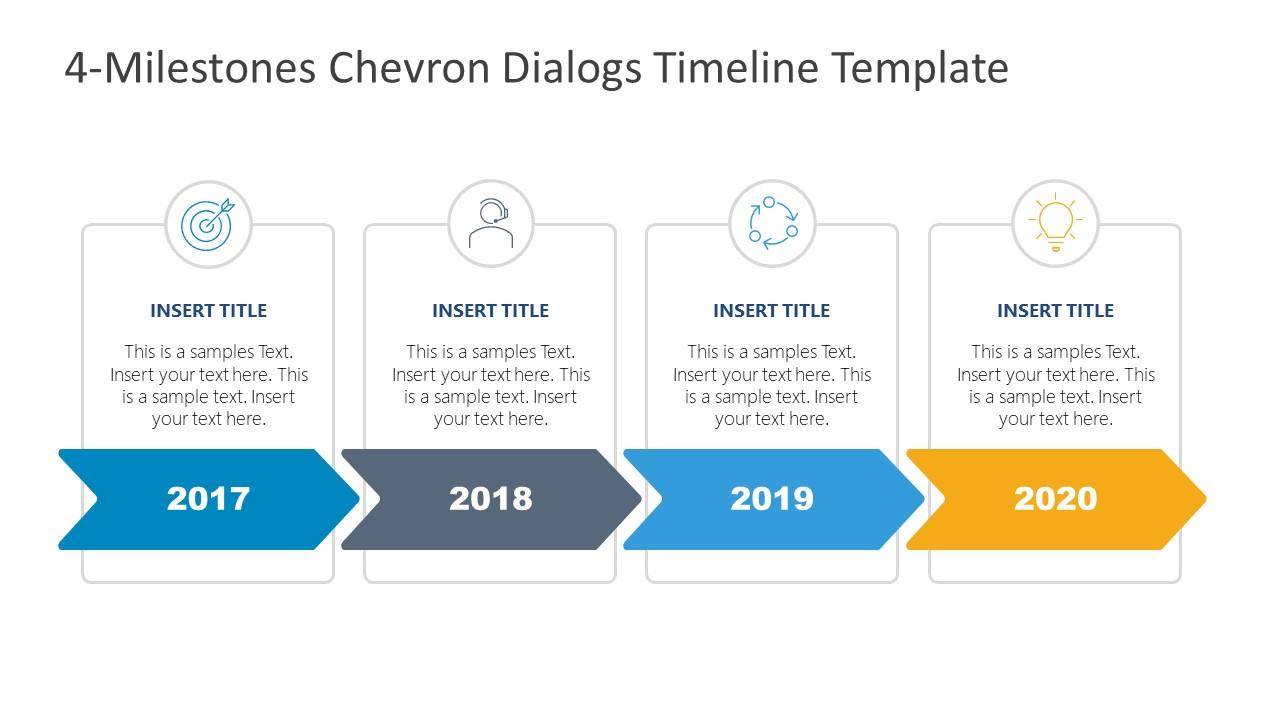 4-Milestones Chevron Dialogs Timeline Template1