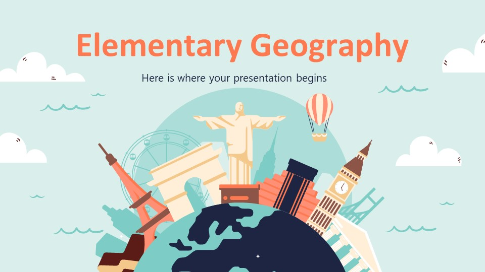 Elementary Geography Lesson PowerPoint Template